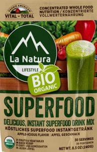 Superfood lioegt voll im Trend. 31 Obst- und Gemüsesorten 100 % Bio von Bauern nachhaltig angebaut. 1 Löffel Gesundheit am Tag
